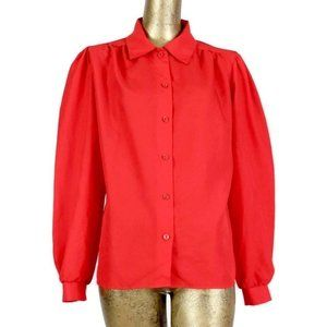 Vintage 70s Mod Red Puff Sleeve Button Up Blouse